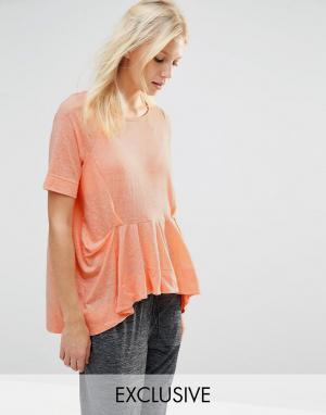 Stitch & Pieces Топ с оборками. Цвет: оранжевый