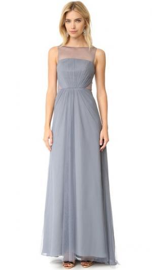 Вечернее платье Illusions из тюля с вырезами Monique Lhuillier Bridesmaids. Цвет: серебристый