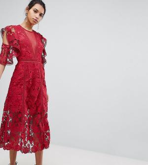 Keepsake Эксклюзивное кружевное платье миди с цветами. Цвет: красный