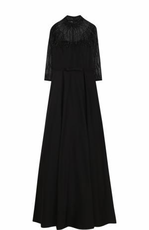 Приталенное платье-макси с воротником-стойкой и укороченным рукавом Basix Black Label. Цвет: черный