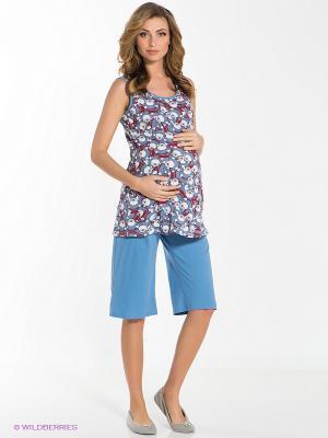 Пижама для беременных ФЭСТ. Цвет: голубой, красный