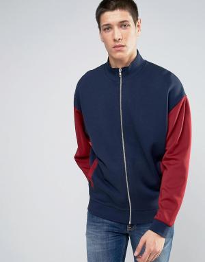ASOS Трикотажная oversize-куртка с красными рукавами. Цвет: темно-синий