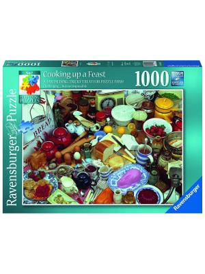 Пазл  Подготовка к банкету 1000 шт Ravensburger. Цвет: голубой, зеленый, коричневый