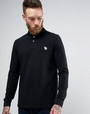 PS by Paul Smith Черная футболка-поло с длинными рукавами и логотипом. Цвет: черный