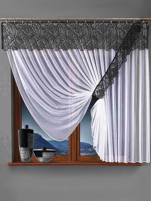 Комплект штор Wisan. Цвет: черный, белый