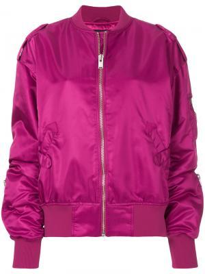 Атласная куртка-бомбер Misbhv. Цвет: розовый и фиолетовый