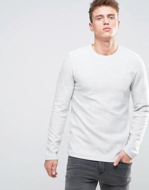 Esprit Меланжевый свитшот в рубчик. Цвет: белый