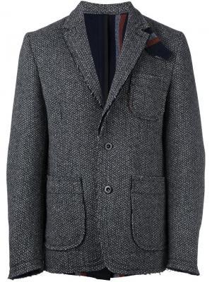 Пиджак с необработанными краями Sacai. Цвет: чёрный