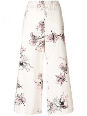 Укороченные брюки с цветочным узором Vivetta. Цвет: телесный