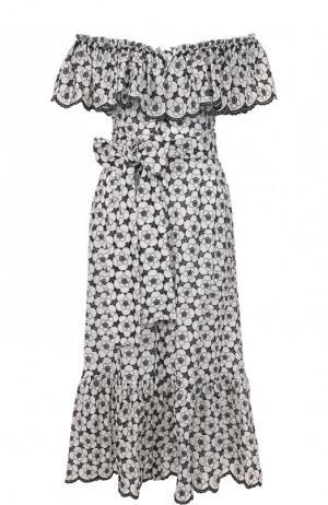 Приталенное хлопковое платье с принтом Lisa Marie Fernandez. Цвет: черно-белый
