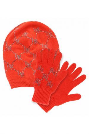 Комплект: шапка, перчатки Blugirl. Цвет: оранжевый