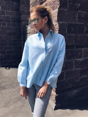 Блузка White stripes Wooly's. Цвет: голубой, белый