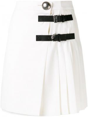Плиссированная мини-юбка Alexander McQueen. Цвет: белый