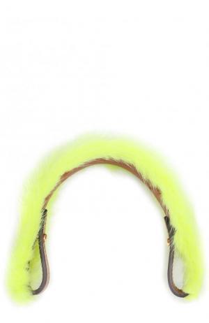Ручка для сумки с отделкой из меха норки Anya Hindmarch. Цвет: желтый