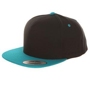 Бейсболка с прямым козырьком  6007t Black/Teal Flexfit. Цвет: черный,голубой