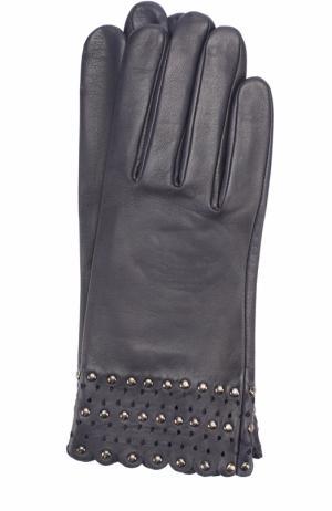 Кожаные перчатки с металлической отделкой Agnelle. Цвет: темно-синий