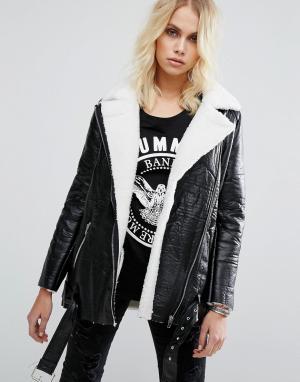 Goldie Куртка-авиатор с искусственной овечьей шерстью Wreckless. Цвет: черный