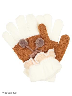 Перчатки Mini. Цвет: белый, коричневый