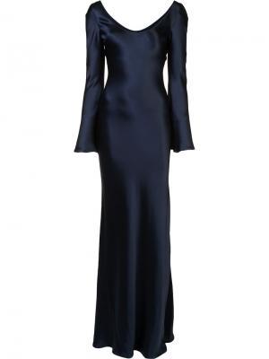 Платье со складками Galvan. Цвет: синий