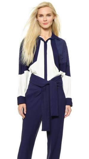 Рубашка с вышивкой бисером Jay Ahr. Цвет: белый/синий