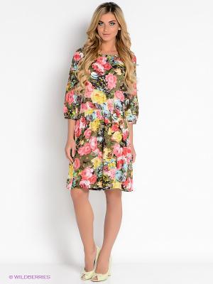 Платье Vis-a-vis. Цвет: зеленый, розовый, желтый