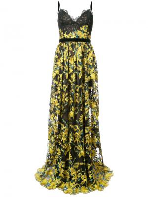 Кружевное вечернее платье с цветочной вышивкой Marchesa Notte. Цвет: чёрный