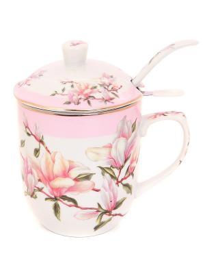 Кружка Орхидея на розовом Elan Gallery. Цвет: розовый, белый