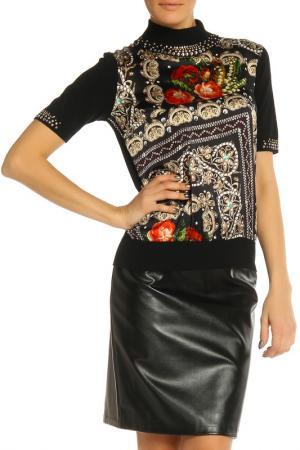 Блуза Elisa Fanti. Цвет: черный, красные цветы