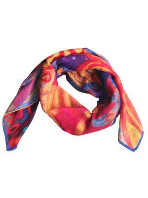 Сезонный платок с арт-принтом Птица Гамаюн Оланж Ассорти. Цвет: красный