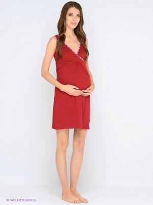 Ночная сорочка для беременных и кормления 40 недель. Цвет: темно-бордовый