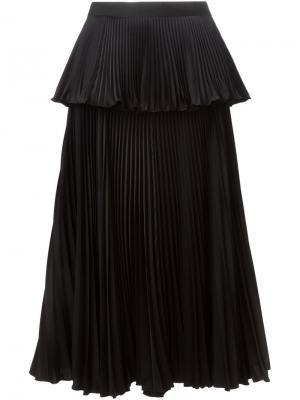 Многослойная плиссированная юбка Issa. Цвет: чёрный