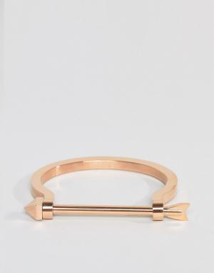 MISTER Золотисто-розовый браслет со стрелой. Цвет: золотой