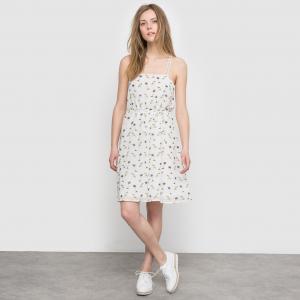 Платье из струящейся ткани с открытыми плечами MOLLY BRACKEN. Цвет: белый наб.рисунок
