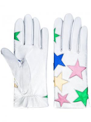 Перчатки со звездами Faith Connexion. Цвет: металлический
