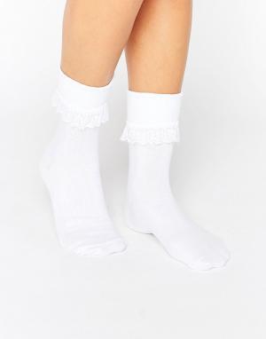 7X Носки с оборкой по верху. Цвет: белый
