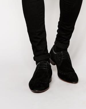ASOS Черные замшевые броги. Цвет: черный