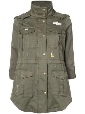 Однобортное пальто Joie. Цвет: зелёный