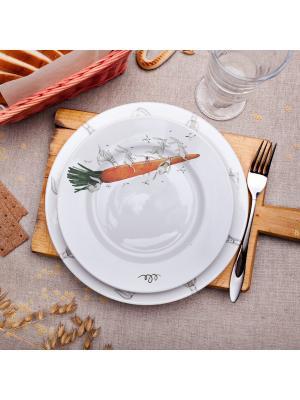 Тарелка 20см, Морковный полет Счастье в мелочах. Цвет: белый