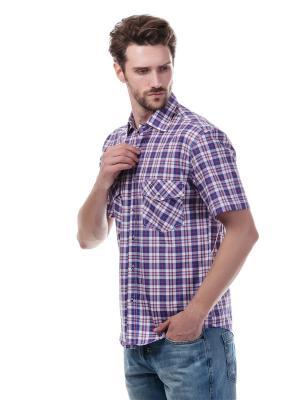 Рубашка Westrenger. Цвет: белый, темно-фиолетовый