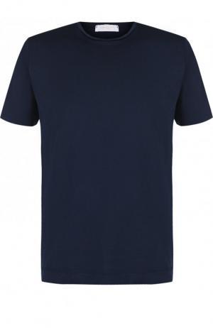 Хлопковая футболка с круглым вырезом Daniele Fiesoli. Цвет: темно-синий