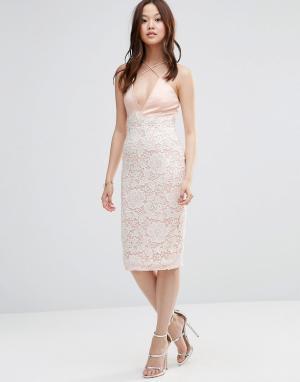 Girl In Mind Платье миди с перекрестным дизайном. Цвет: розовый