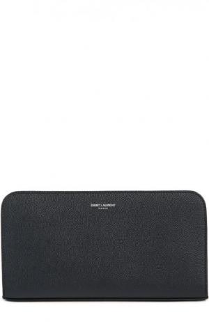 Кожаное портмоне на молнии с отделениями для кредитных карт и монет Saint Laurent. Цвет: темно-синий