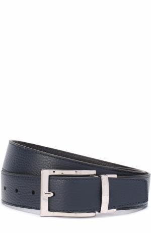 Кожаный ремень с металлической пряжкой A. Testoni. Цвет: темно-синий