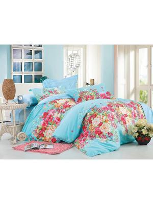 Комплект постельного белья ЕВРО сатин, рисунок 685 LA NOCHE DEL AMOR. Цвет: голубой
