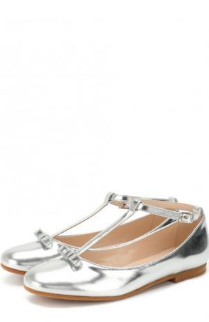 Туфли из металлизированной кожи с бантом на ремешке Il Gufo. Цвет: серебряный