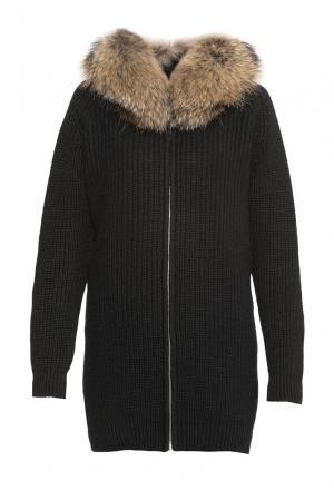 Кардиган из шерсти с отделкой меха енота 177118 Fashion Cashmere. Цвет: черный
