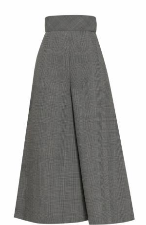 Укороченные шерстяные брюки с завышенной талией Vika Gazinskaya. Цвет: черно-белый