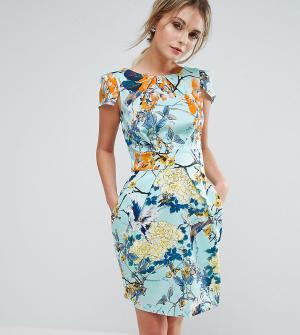 Closet London Платье с короткими рукавами и цветочным принтом. Цвет: мульти