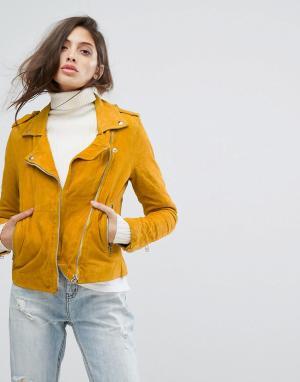 Goosecraft Замшевая байкерская куртка. Цвет: желтый