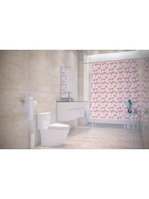 Штора д/ванн 180х200 Flamingo роз Bacchetta. Цвет: бледно-розовый, белый